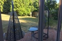 Ferienhaus in Malchow am Fleesensee Blick in den Garten