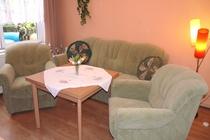 Ferienhaus Mecklenburgische Seenplatte Petersdorfer See Wohnzimmer Couch
